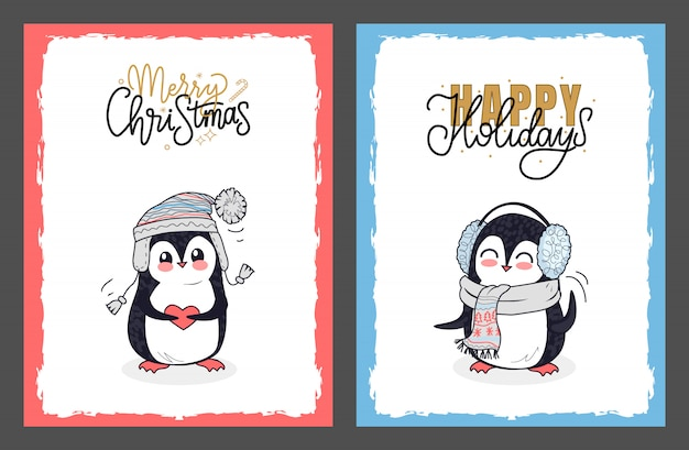 Merry christmas and happy holidays with penguins Premium Vector