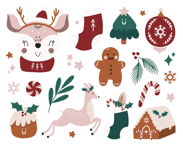 Merry christmas or happy new 2021 year traditional winter elements. Premium Vector