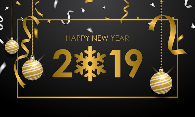 Merry christmas and happy new year 2019 banner Premium Vector
