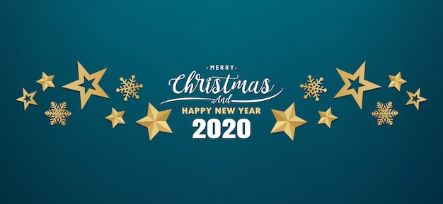 Christmas 2020 Banner Premium Vector | Merry christmas and happy new year 2020 banner