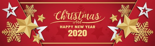 Merry Christmas 2020 Banner Premium Vector | Merry christmas and happy new year 2020 banner