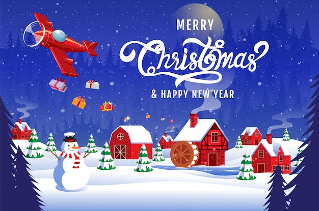 Christmas New Year 2020 Merry christmas happy new year 2020 calligraphy landscape winter