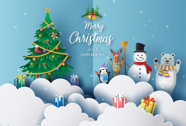 Merry christmas and happy new year 2020 concept with snowman, reindeer, bear and penguin. Premium Vector