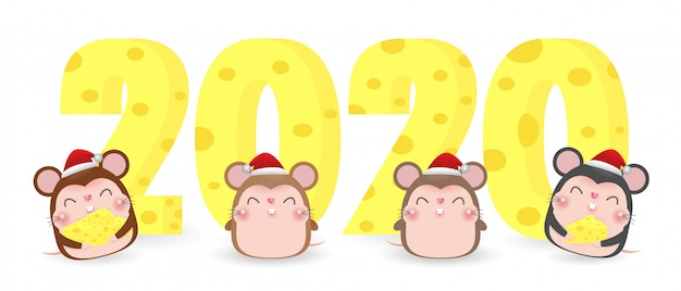 Merry christmas and happy new year 2020 greeting card with cute mouse and cheese Premium Vector
