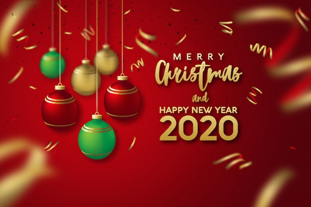 Premium Vector | Merry christmas and happy new year 2020 ...