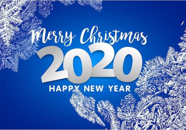 New 1040 For 2020.Merry Christmas And Happy New Year 2020 Snowflakes