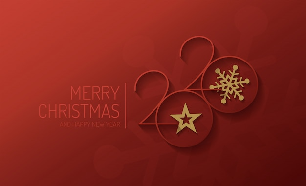 Merry christmas and happy new year 2020 vector design Premium Vector