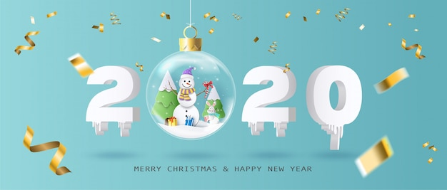 Merry christmas and happy new year 2020 with xmas ball Premium Vector