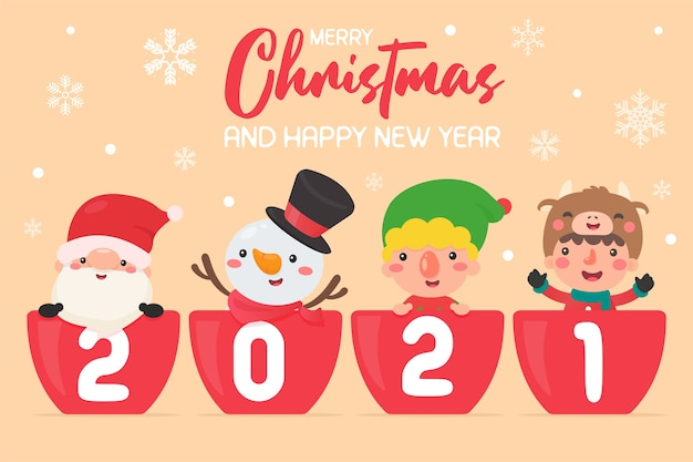 Download Merry Christmas And Happy New Year 2021 Cartoon