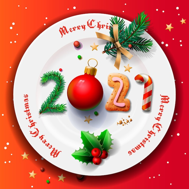 When Is Christmas 2021 Premium Vector Merry Christmas And Happy New Year 2021 Christmas Plate