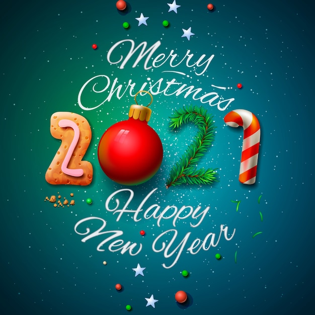 Premium Vector | Merry christmas and happy new year 2021 ...