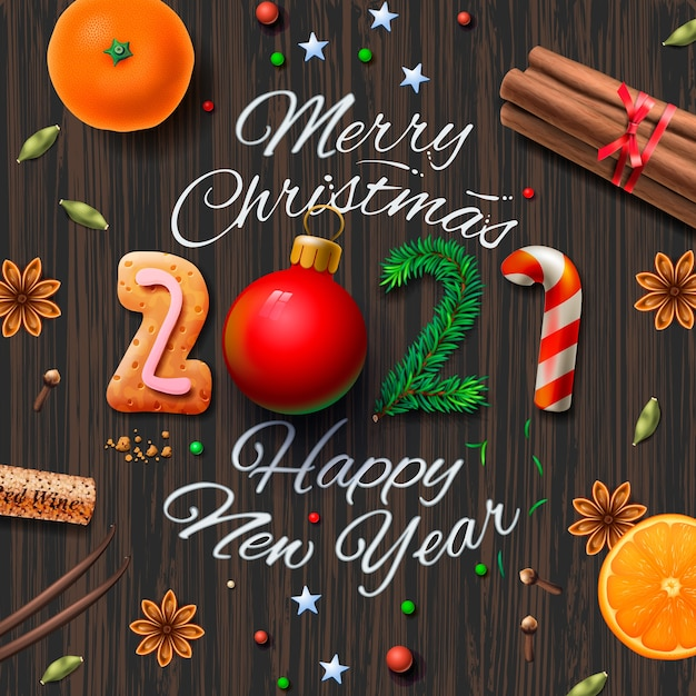 premium vector merry christmas happy new year 2021 vintage background with typography and spices for christmas drink mulled wine https www freepik com profile preagreement getstarted 10555804