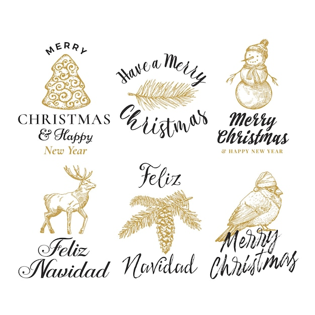 Merry christmas and happy new year abstract  signs, labels or logo templates set. Free Vector