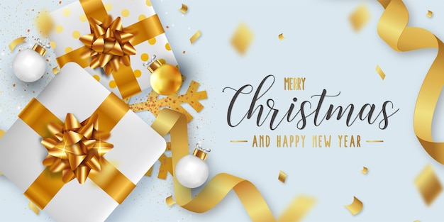 Merry christmas and happy new year background template with realistic christmas objects Free Vector
