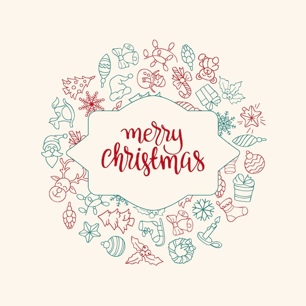 Merry christmas and happy new year background with colored icons. Free Vector