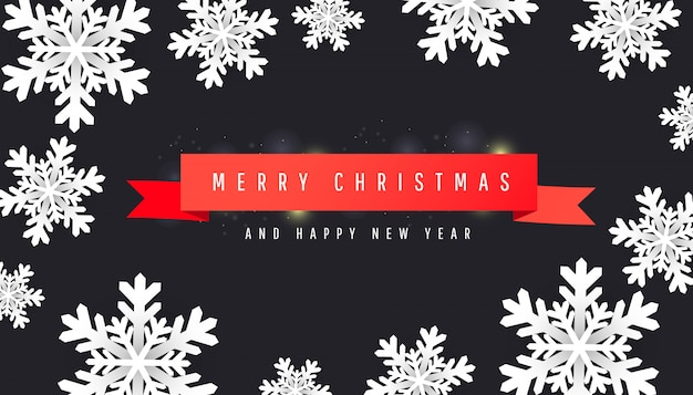 Premium Vector Merry Christmas And Happy New Year Background With Paper Cut White Snowflakes Red Ribbons On Dark