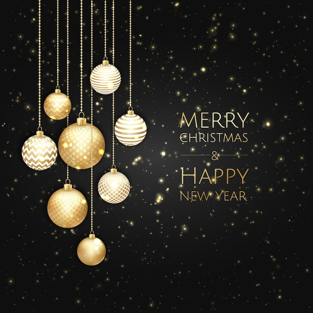 Merry christmas and happy new year background Premium Vector