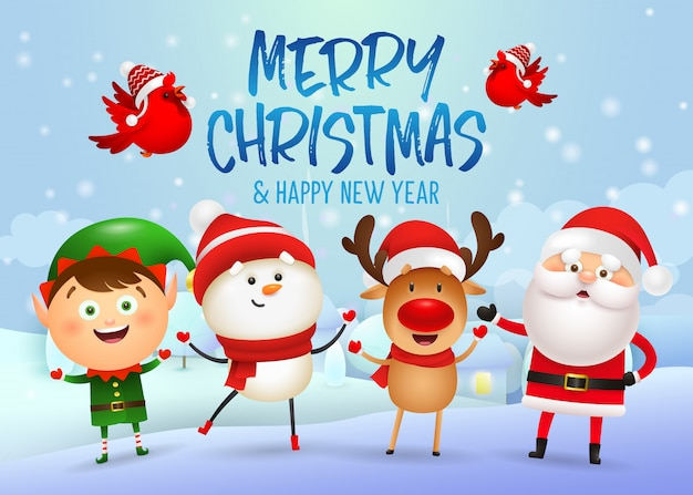 Merry christmas and happy new year banner design Free Vector