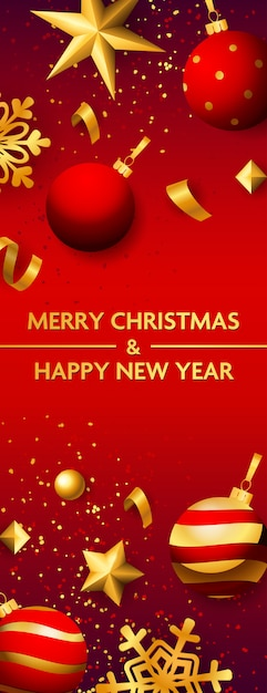 Merry christmas and happy new year banner with baubles Free Vector