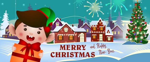 Merry christmas and happy new year banner with cheerful elf Free Vector