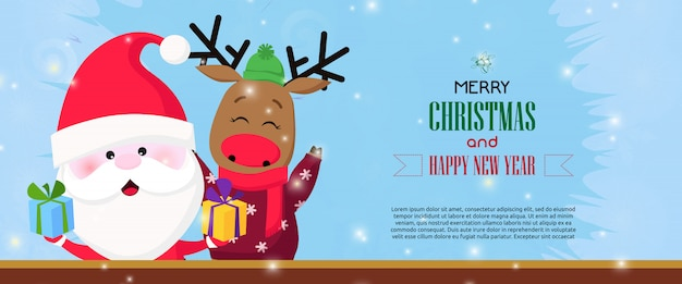Merry christmas and happy new year banner with happy santa Free Vector