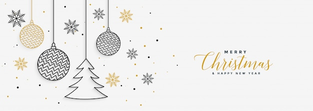 Merry christmas and happy new year banner Free Vector