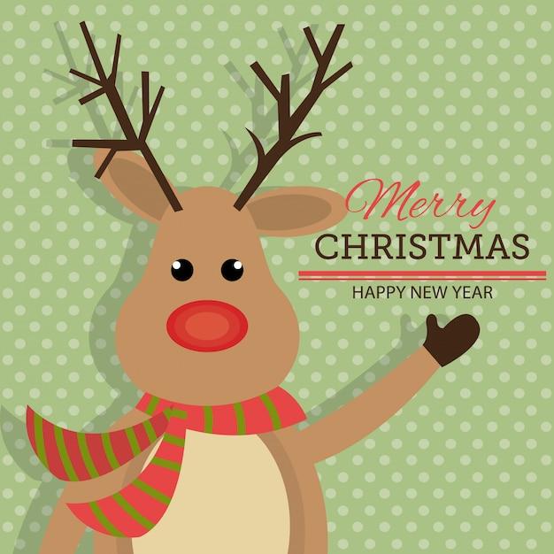 Buon natale e felice anno nuovo card design Vettore gratuito