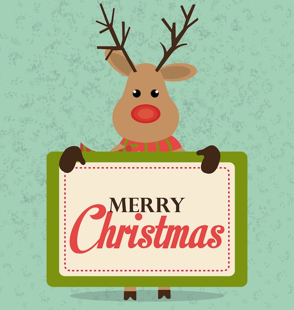 Merry christmas and happy new year card design Free Vector