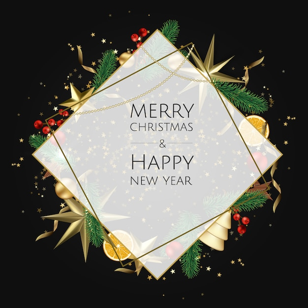 Merry christmas and happy new year card Premium Vector