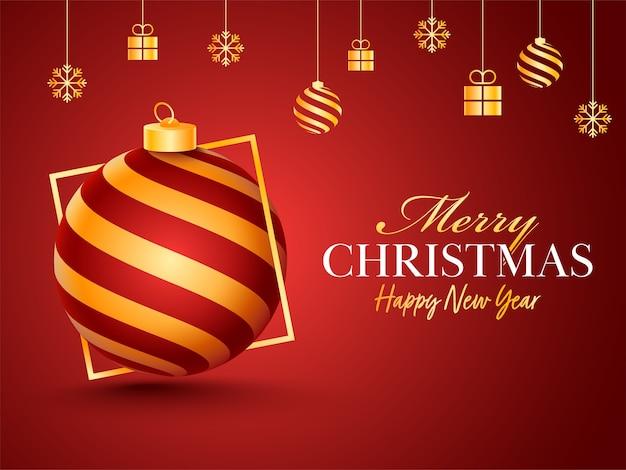 つまらないもの、ギフトボックス、雪片でメリークリスマス&新年あけましておめでとうございますお祝いポスターは赤の背景にハングアップします。 Premiumベクター