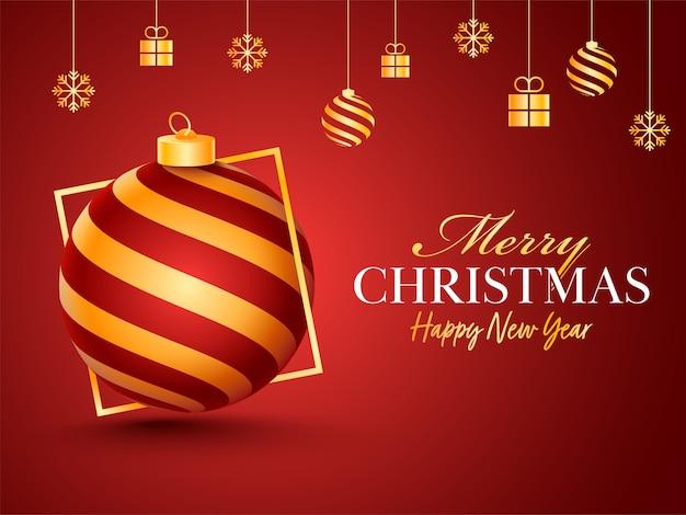 つまらないもの、ギフトボックス、雪片が赤い背景に掛かっているメリークリスマス&新年あけましておめでとうございますのお祝いのポスター。 Premiumベクター