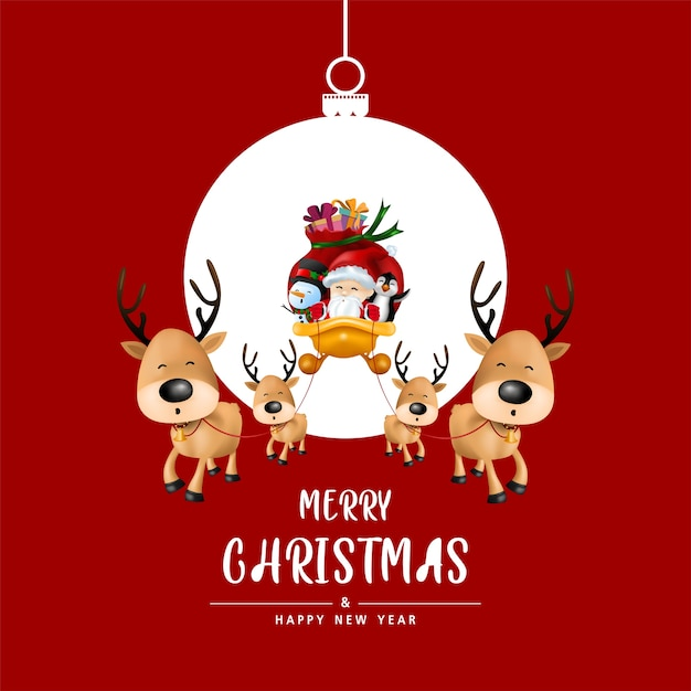 Merry christmas and happy new year in christmas ball on red background. Premium Vector