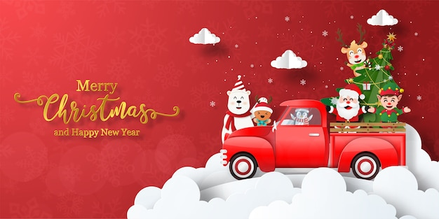 merry christmas happy new year christmas banner santa claus friends with red car 68971 606