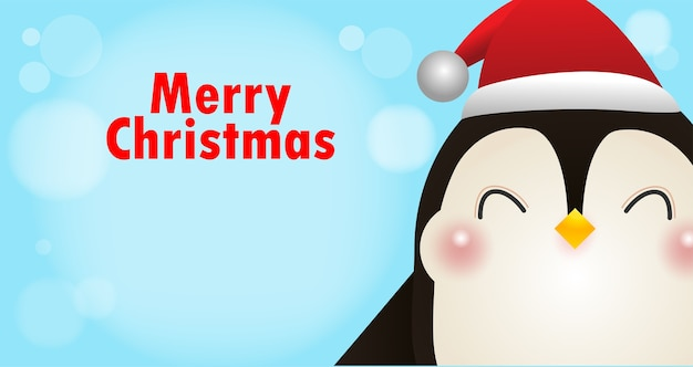 メリークリスマス、新年あけましておめでとうございます、クリスマスの雪のシーンの冬のサンタキャップとかわいいコガタペンギン Premiumベクター