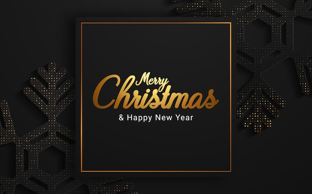 Merry christmas and happy new year on dark background Free Vector