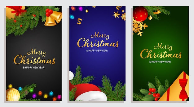 Merry christmas and happy new year design with holly berries Free Vector