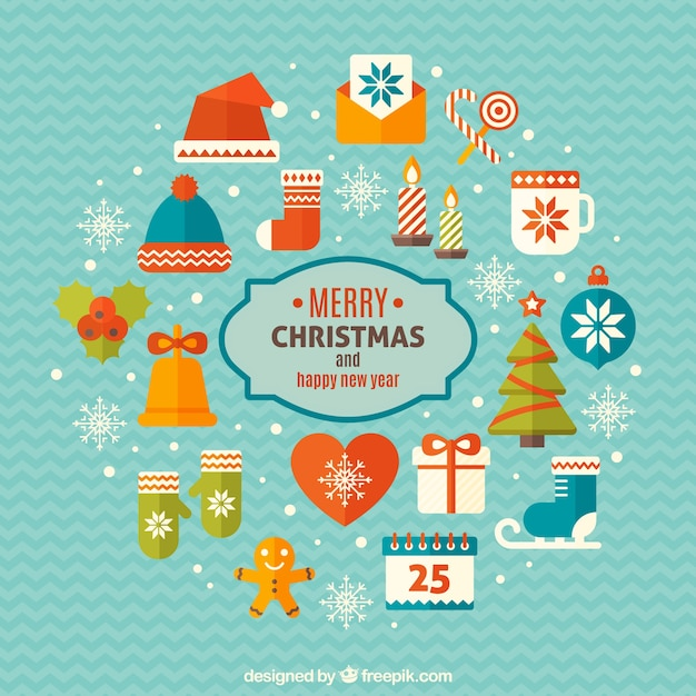Merry christmas and happy new year elements Premium Vector