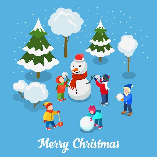С рождеством христовым с новым годом плоская изометрия. дети играют в снежки со снеговиком на свежем воздухе креативный зимний праздник Бесплатные векторы
