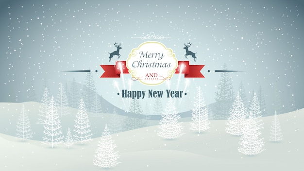 Merry christmas and happy new year forest winter landscape with snowfall and fireworks illustration Premium Vector