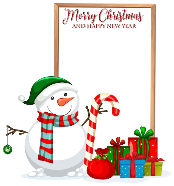 Merry christmas and happy new year frame Free Vector