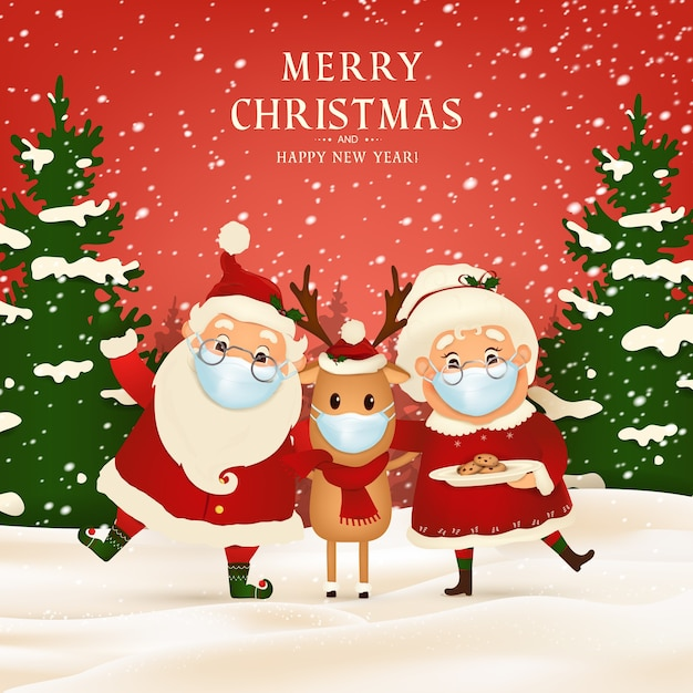 Merry christmas. happy new year. funny santa claus with