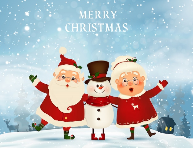 Merry Christmas Santa Claus Elves Holding Stock Vector
