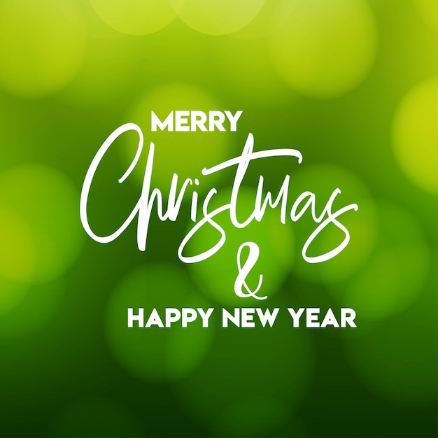 Merry christmas and happy new year green background Free Vector