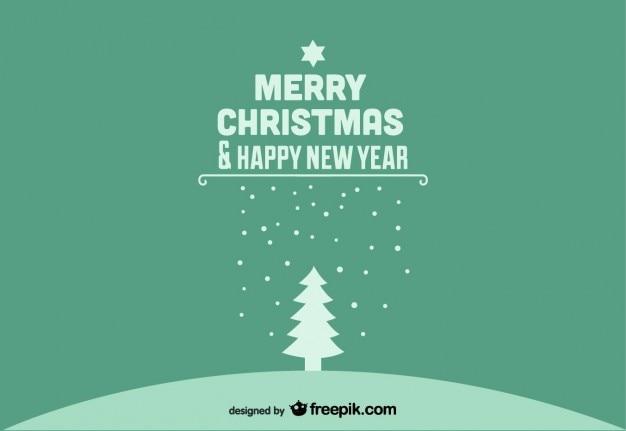 merry christmas happy new year green postcard free vector