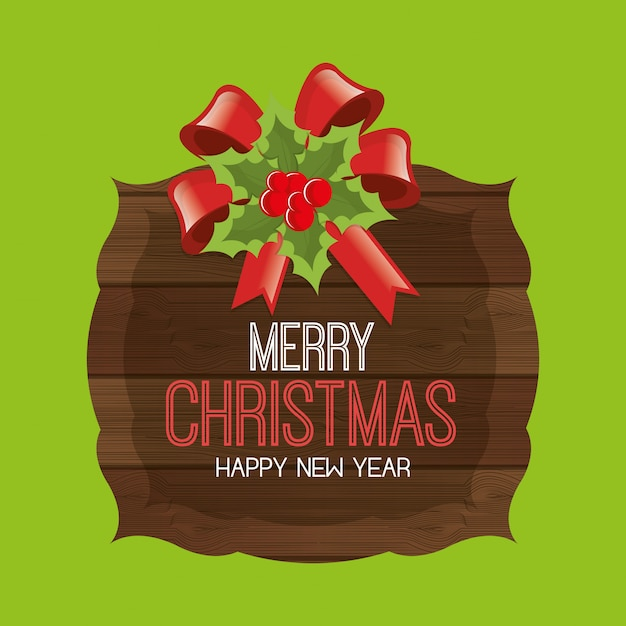 Merry christmas and happy new year greeting card, cartoon style Free Vector