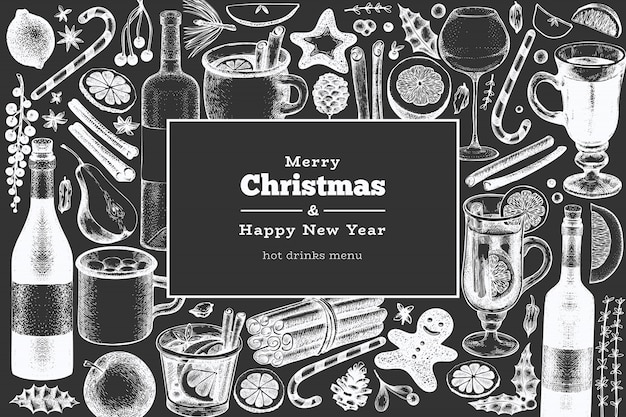 Merry christmas and happy new year greeting card. engraved style mulled wine, hot chocolate, spices illustrations on chalk board. Premium Vector