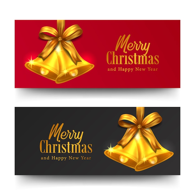 Merry christmas and happy new year greeting card horizontal banner Premium Vector