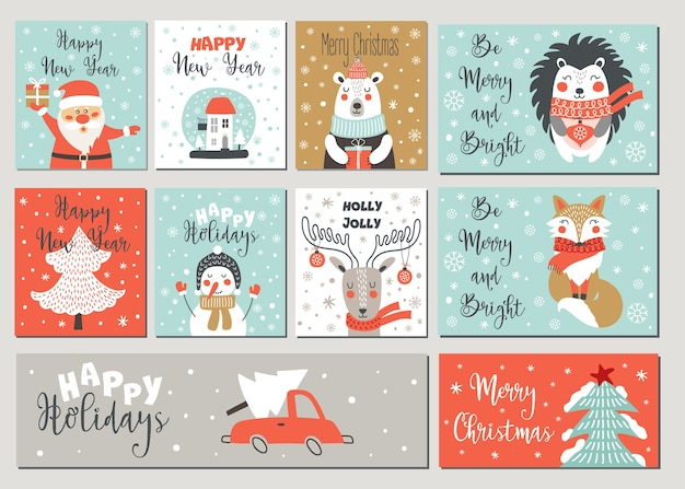 Premium Vector Merry Christmas And Happy New Year Greeting Card Set With Hand Drawing Elements