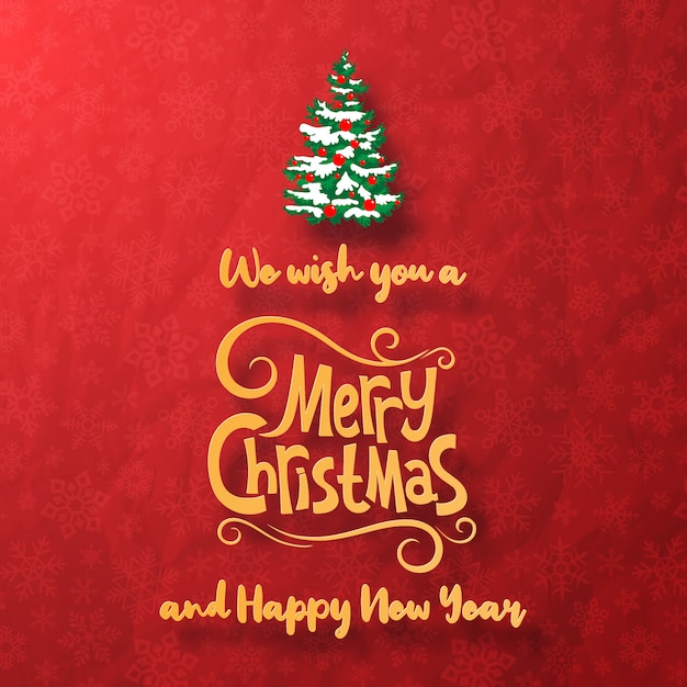 Merry christmas and happy new year greeting card with christmas tree Premium Vector