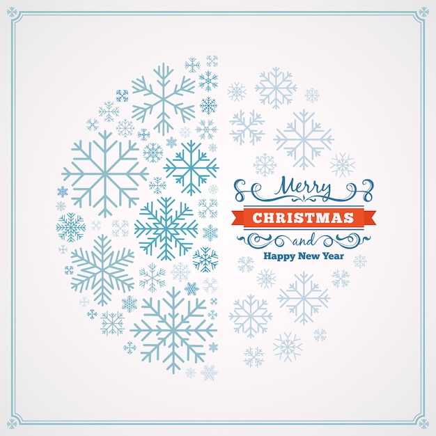 Merry christmas and happy new year greeting card with design made of snowflakes Premium Vector